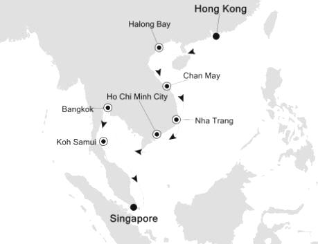 Singles Cruise - Balconies-Suites Silversea Silver Shadow February 24 March 10 2020 Hong Kong, China to Singapore, Singapore