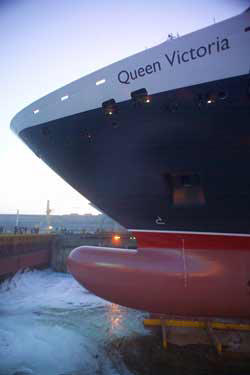 Luxury Cunnard Queen Mary 2 qm 2 Queen Victoria Float Out Ceremony