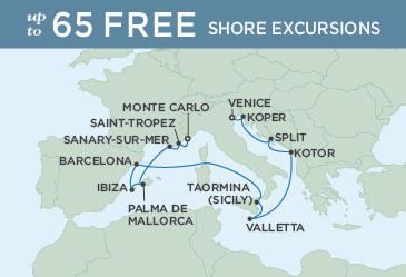 SINGLE Cruise - Balconies-Suites Regent Seven Seas Explorer Map MONTE CARLO TO VENICE July 20 August 3 2019 - 14 Nights