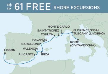 SINGLE Cruise - Balconies-Suites Regent Seven Seas Explorer Map August 13-25 2019 - 12 Nights ROME (CIVITAVECCHIA) TO LISBON
