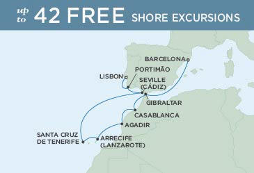 SINGLE Cruise - Balconies-Suites Regent Seven Seas Explorer Map August 25 September 4 2019 - 10 Nights LISBON TO BARCELONA