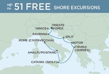 Singles Cruise - Balconies-Suites Regent Seven Seas Explorer Map September 14-24 2019 - 10 Days ROME (CIVITAVECCHIA) TO VENICE