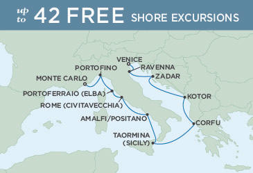 SINGLE Cruise - Balconies-Suites Regent Seven Seas Explorer Map September 24 October 4 2019 - 10 Nights VENICE TO MONTE CARLO