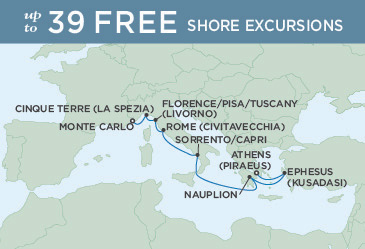 SINGLE Cruise - Balconies-Suites Regent Seven Seas Explorer Map October 4-12 2019 - 8 Nights MONTE CARLO TO ATHENS (PIRAEUS)