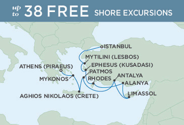 SINGLE Cruise - Balconies-Suites Regent Seven Seas Explorer Map October 12-22 2019 - 10 Nights ATHENS (PIRAEUS) TO ISTANBUL