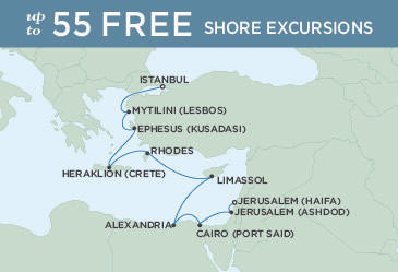 SINGLE Cruise - Balconies-Suites Regent Seven Seas Explorer Map October 22 November 2 2019 - 11 Nights ISTANBUL TO JERUSALEM (HAIFA)