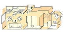 Charters, Groups, Penthouse, Balcony, Windows, Owner Suite, Veranda - Luxury Silversea Cruises Vista Suite Diagram