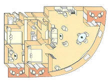 Charters, Groups, Penthouse, Balcony, Windows, Owner Suite, Veranda - Luxury Silversea Cruises Grand Suite Diagram