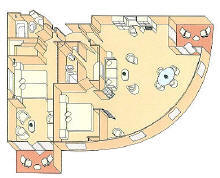 Charters, Groups, Penthouse, Balcony, Windows, Owner Suite, Veranda - Luxury Silversea Cruises Royal Suite Diagram
