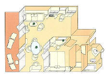 Charters, Groups, Penthouse, Balcony, Windows, Owner Suite, Veranda - Luxury Silversea Cruises Silver Suite Diagram
