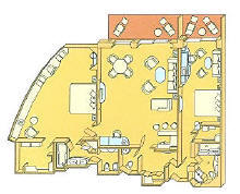 Single Balconies/Suites Silversea Cruises Royal Suite Diagram