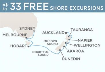 Radisson Seven Seas Cruises Voyager 2021 Map January 17 February 1 2021 - 15 Days