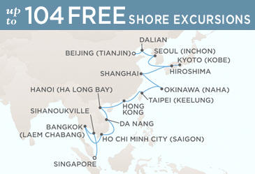 Radisson Seven Seas Cruises Voyager 2014 Map February 19 March 21 2014 - 30 Days