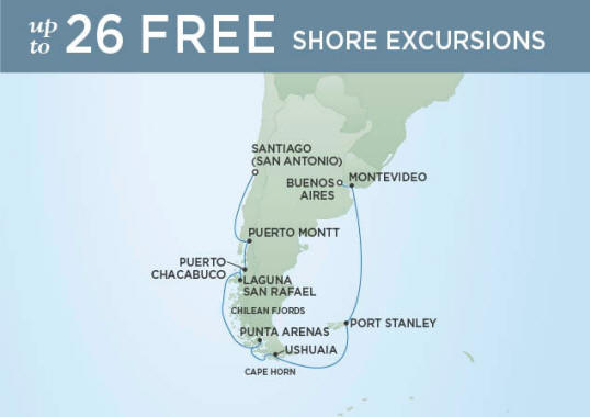 Itinerary Map RSSC Regent Seven Seas Voyager 2023 cruise