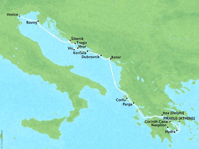 CRYSTAL LUXURY cruises Esprit Map Detail Piraeus, Greece to Venice, Italy August 13-27 2017 - 14 Days