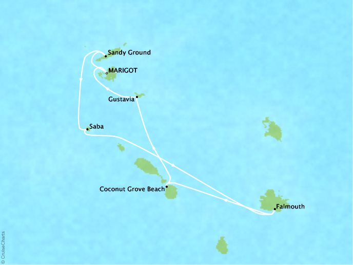 CRYSTAL LUXURY cruises Esprit Map Detail Marigot, Saint Martin to Marigot, Saint Martin December 17-23 2017 - 6 Days