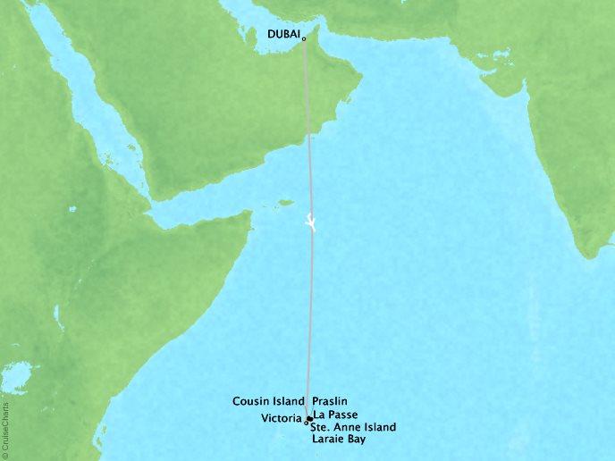 CRYSTAL LUXURY cruises Esprit Map Detail Dubai, United Arab Emirates to Victoria, Seychelles February 17-26 2017 - 9 Days