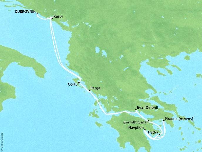 CRYSTAL LUXURY cruises Esprit Map Detail Dubrovnik, Croatia to Dubrovnik, Croatia July 9-23 2017 - 14 Days