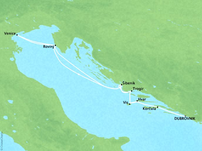 Cruises Crystal Esprit Map Detail Dubrovnik, Croatia to Dubrovnik, Croatia September 17 October 1 2017 - 14 Days