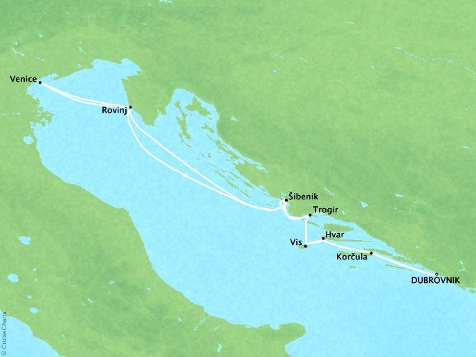 CRYSTAL LUXURY cruises Esprit Map Detail Dubrovnik, Croatia to Dubrovnik, Croatia September 17 October 1 2017 - 14 Days