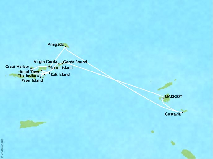 CRYSTAL LUXURY cruises Esprit Map Detail Marigot, Saint Martin to Marigot, Saint Martin April 22-29 2018 - 7 Days