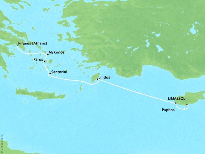 CRYSTAL LUXURY cruises Esprit Map Detail Limassol, Cyprus to Piraeus, Greece April 29 May 6 2018 - 7 Days