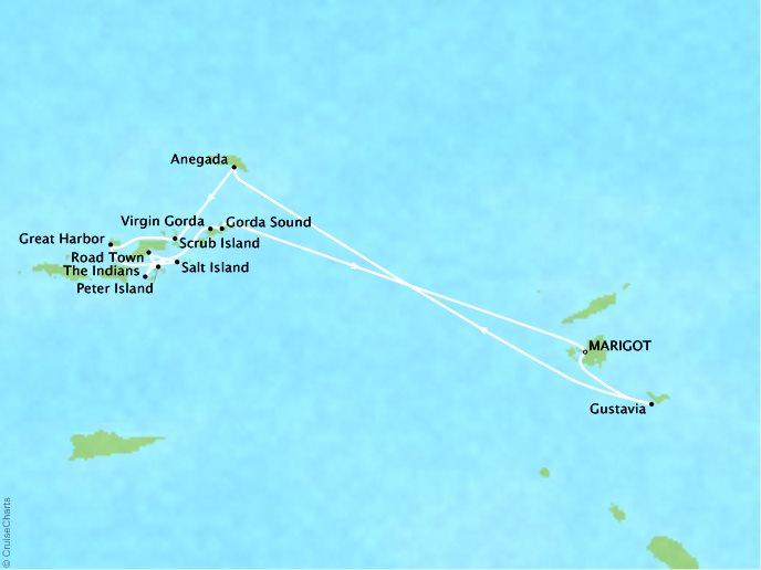 CRYSTAL LUXURY cruises Esprit Map Detail Marigot, Saint Martin to Marigot, Saint Martin January 14-21 2018 - 7 Days