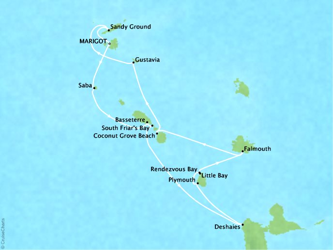CRYSTAL LUXURY cruises Esprit Map Detail Marigot, Saint Martin to Marigot, Saint Martin January 3-14 2018 - 11 Days