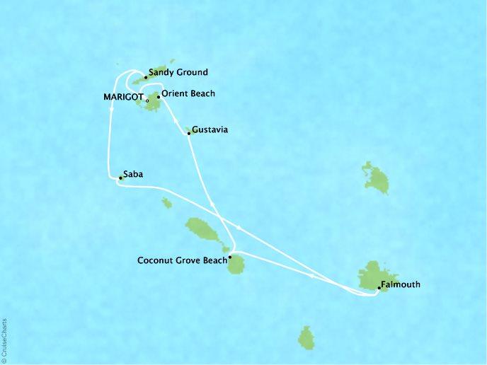 CRYSTAL LUXURY cruises Esprit Map Detail Marigot, Saint Martin to Marigot, Saint Martin July 22-29 2018 - 7 Days