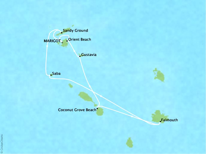 CRYSTAL LUXURY cruises Esprit Map Detail Marigot, Saint Martin to Marigot, Saint Martin March 18-25 2018 - 7 Days