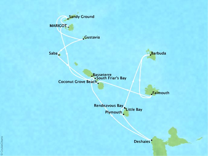 Crystal Luxury Cruises Cruises Crystal Esprit Map Detail Marigot, Saint Martin to Marigot, Saint Martin December 22 2019 January 3 2020 - 14 Days