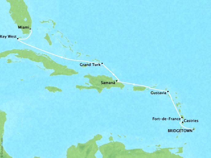 Cruises Crystal Serenity Map Detail Barbados to Miami, FL April 5-15 2017 - 10 Days