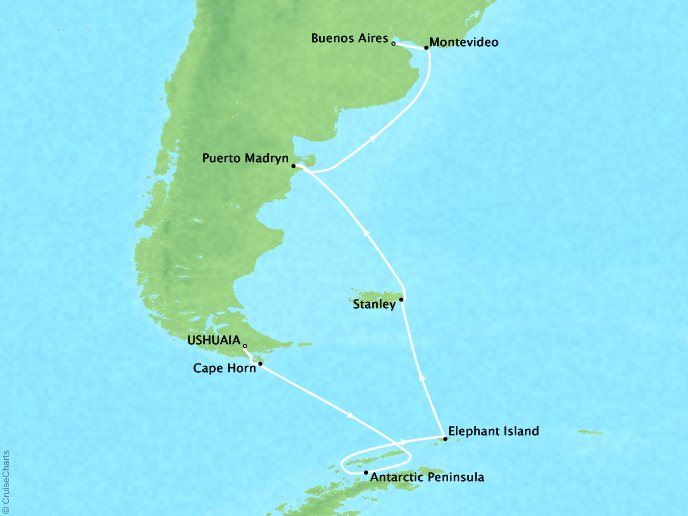 Cruises Crystal Serenity Map Detail Ushuaia, Argentina to Buenos Aires, Argentina February 18 March 3 2017 - 13 Days