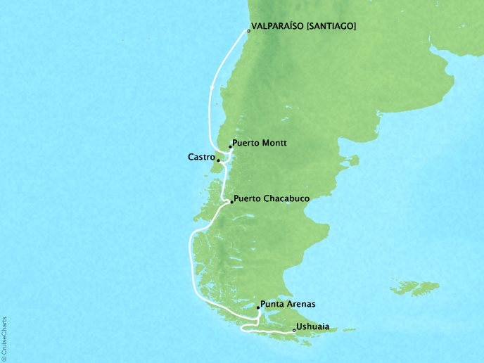 Cruises Crystal Serenity Map Detail Santiago (Valparaiso), Chile to Ushuaia, Argentina February 8-18 2017 - 10 Days