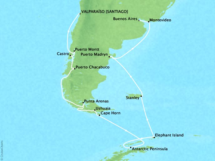 Cruises Crystal Serenity Map Detail Santiago (Valparaiso), Chile to Buenos Aires, Argentina February 8 March 3 2017 - 23 Days