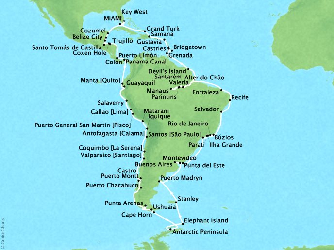 Cruises Crystal Serenity Map Detail Miami, FL to Miami, FL January 10 April 15 2017 - 94 Days