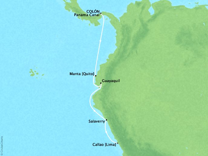 Cruises Crystal Serenity Map Detail Colon, Panama to Lima (Callao), Peru January 22 February 8 2017 - 7 Days