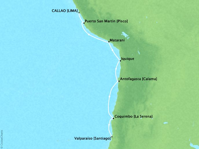 Cruises Crystal Serenity Map Detail Lima (Callao), Peru to Santiago (Valparaiso), Chile January 30 February 8 2017 - 9 Days