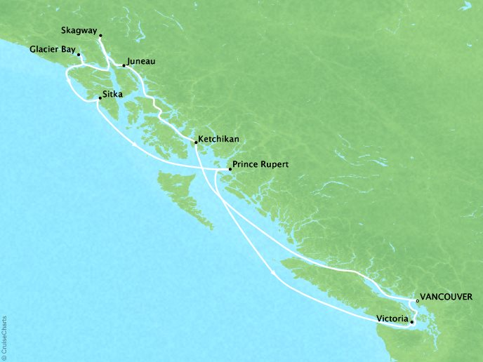 Cruises Crystal Serenity Map Detail Vancouver, Canada to Vancouver, Canada July 10-20 2017 - 10 Days