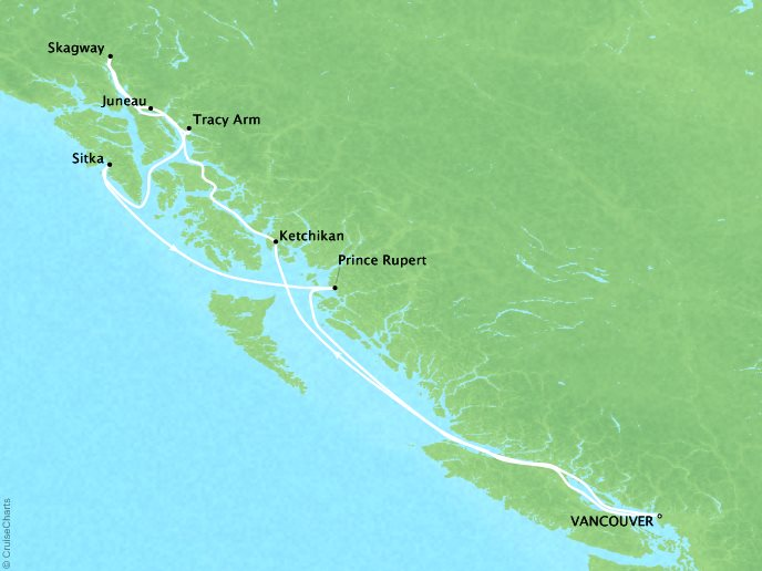 Cruises Crystal Serenity Map Detail Vancouver, Canada to Vancouver, Canada July 20-29 2017 - 9 Days
