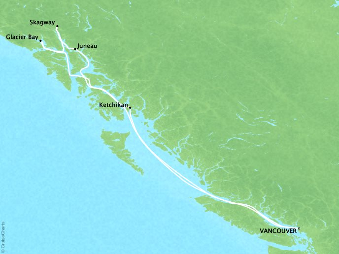 Cruises Crystal Serenity Map Detail Vancouver, Canada to Vancouver, Canada July 3-10 2017 - 7 Days