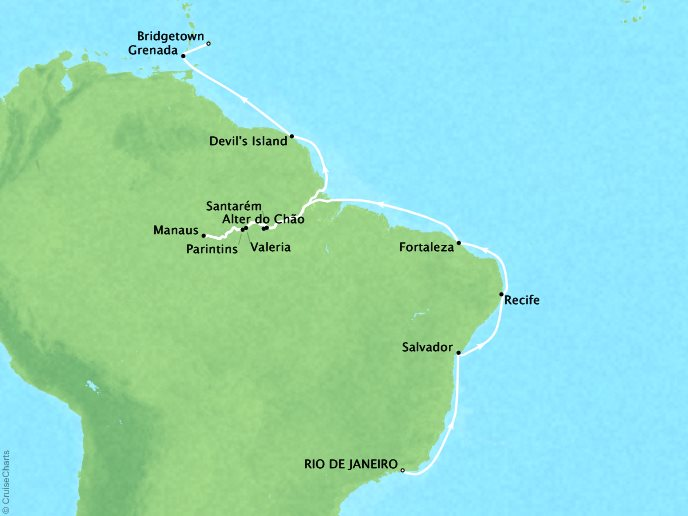 Cruises Crystal Serenity Map Detail Rio de Janeiro, Brazil to Barbados March 14 April 5 2017 - 22 Days