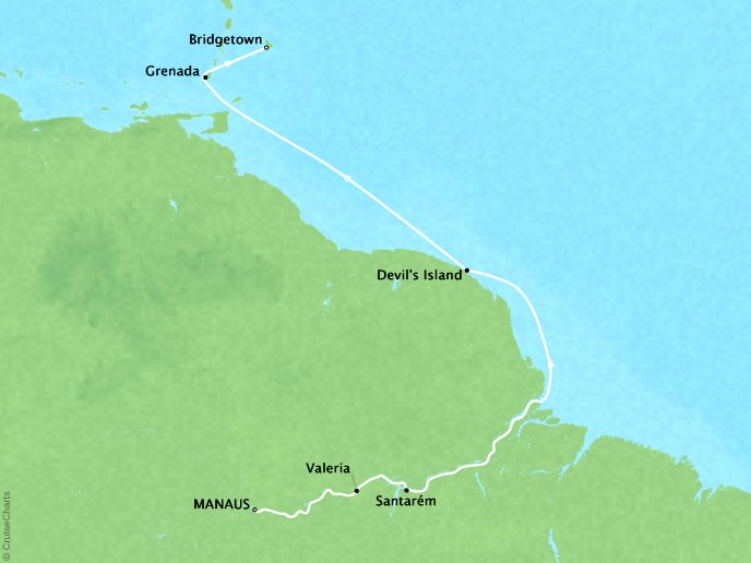 Cruises Crystal Serenity Map Detail Manaus, Brazil to Barbados March 27 April 5 2017 - 9 Days