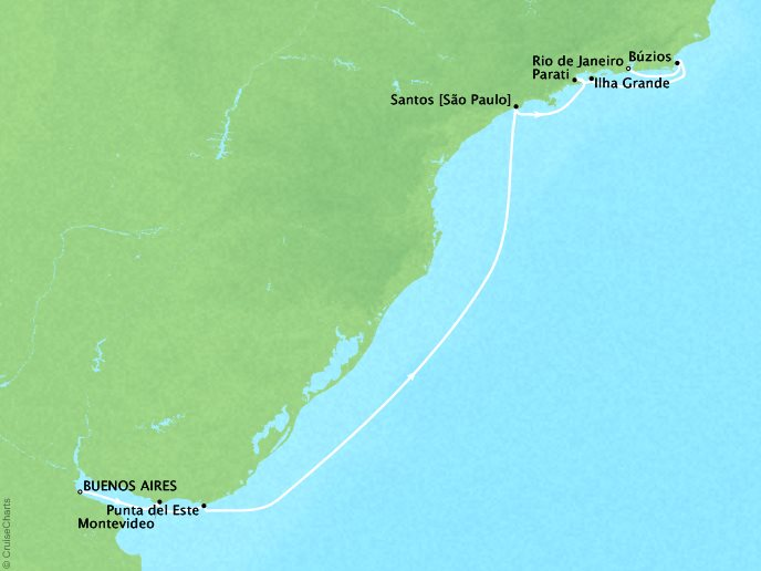 Cruises Crystal Serenity Map Detail Buenos Aires, Argentina to Rio de Janeiro, Brazil March 3-14 2017 - 11 Days