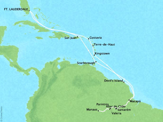 Cruises Crystal Serenity Map Detail Miami, FL to Miami, FL October 27 November 20 2017 - 24 Days