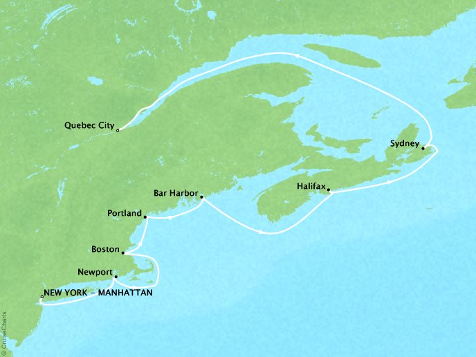 Cruises Crystal Serenity Map Detail New York, NY, United States to Québec City, Canada October 3-13 2017 - 10 Days