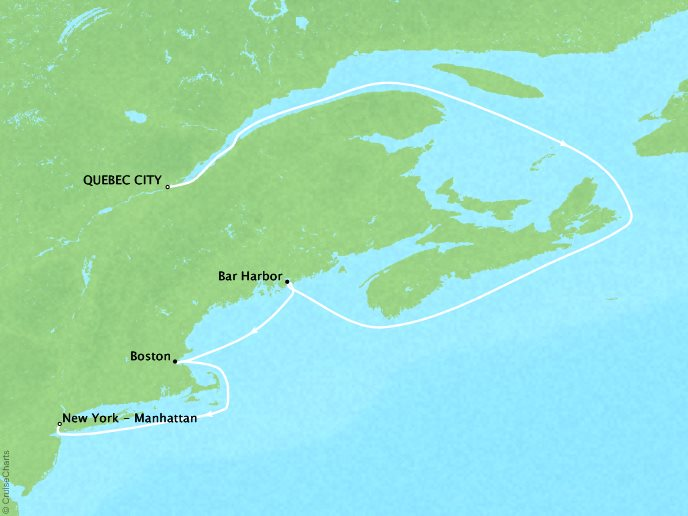 Cruises Crystal Serenity Map Detail Québec City, Canada to New York, NY, United States September 26 October 3 2017 - 7 Days