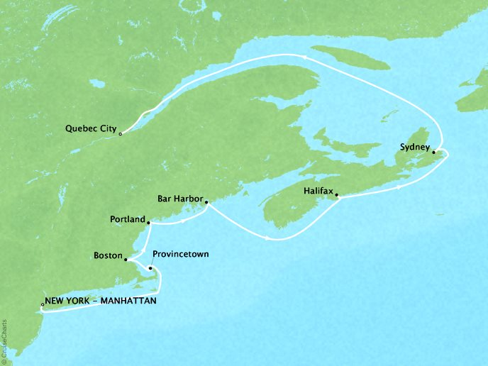Cruises Crystal Serenity Map Detail New York, NY, United States to Québec City, Canada September 16-26 2017 - 10 Days