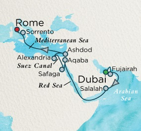 Crystal Luxury Cruises Serenity April 26 May 16 2018 Dubai, United Arab Emirates to Civitavecchia, Italy