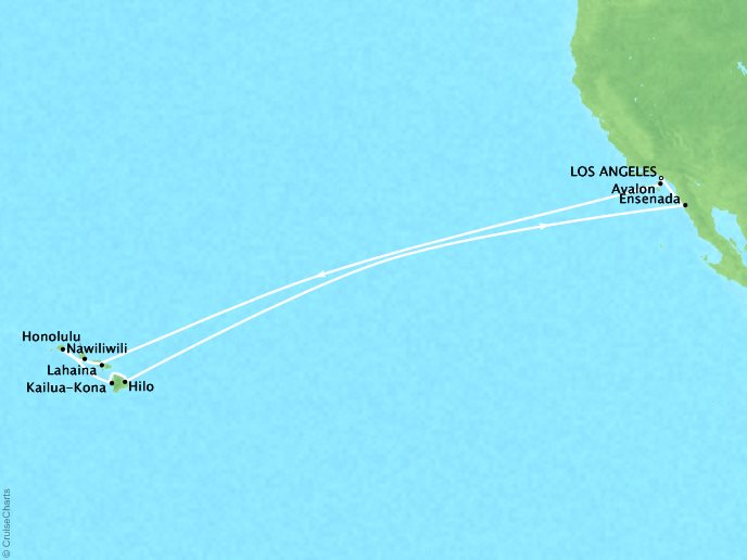Crystal Luxury Cruises Cruises Crystal Serenity Map Detail Los Angeles, CA, United States to Los Angeles, CA, United States December 21 2018 January 6 2019 - 16 Days